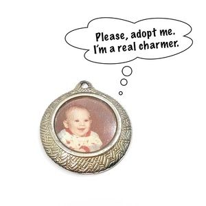 Money Silver-tone Picture Photo Charm Pendant